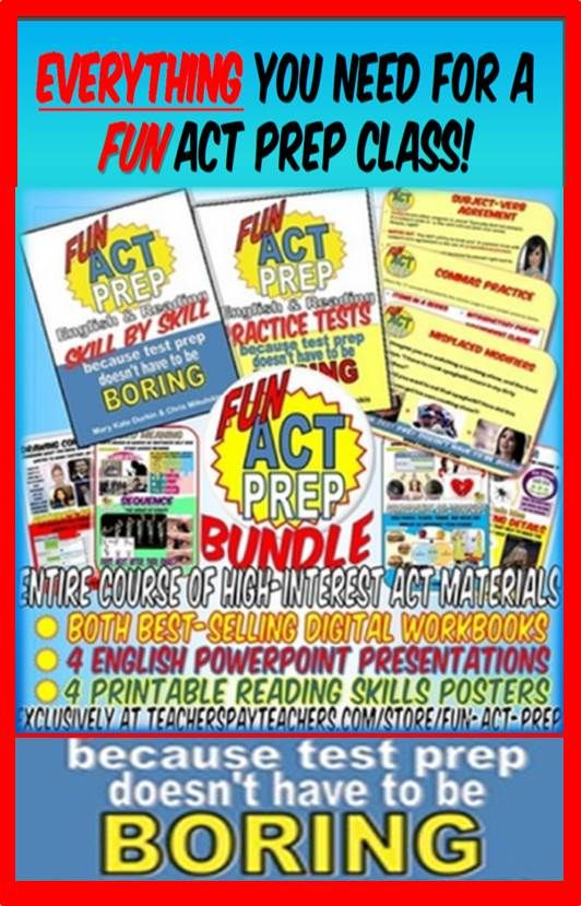 An ENTIRE English & Reading ACT prep class that is actually FUN! Tons of skills-based materials to keep kids interested in test prep--WOW!