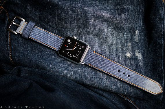 Handmade Vintage Jeans Strap/Band incl. Lugs Adapter for Apple Watch (or Apple Watch Sport/Space Gray) 42mm or 38mm