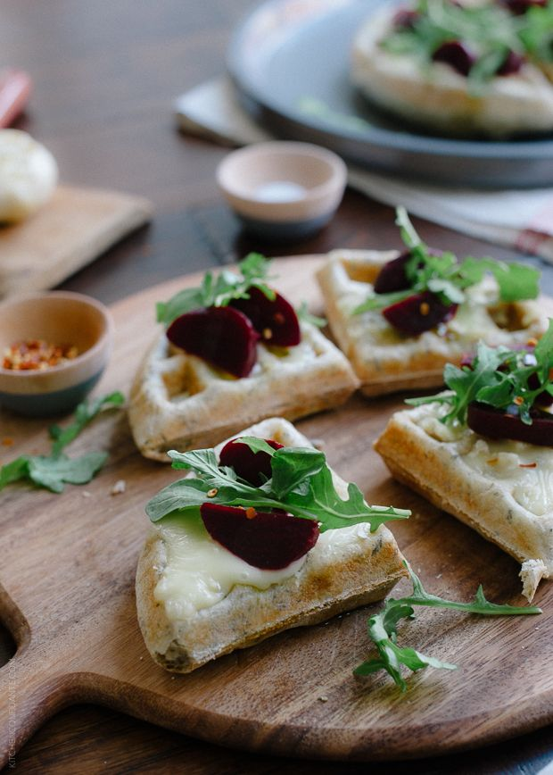 Waffle pizzas with roasted garlic, beets and brie
