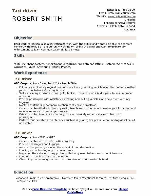 Taxi Driver Resume Samples Qwikresume Resume Template Resume Design Template Free Printable Resume