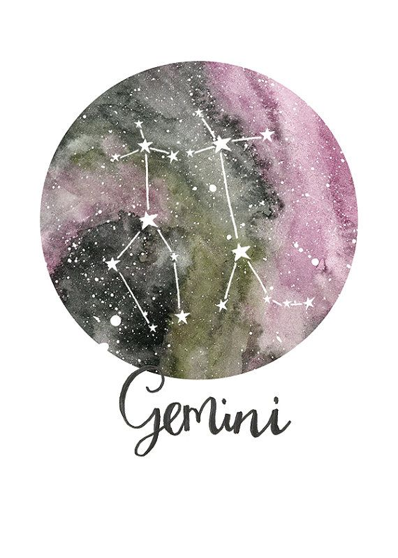 TITLE: Gemini - Zodiac Constellations SIZE: 7x5 - Unframed art print of my original painting. All prints are signed on the back and are carefully packed in a clear sleeve and a hard backed envelope to ensure it arrives in pristine condition. Artwork © Sarah Frances.