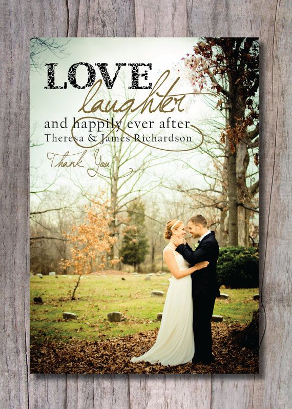 Custom Wedding Thank You Photo Card Hily Ever After On Etsy