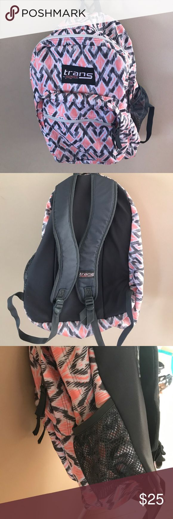 School backpack Cute grey and peach Jansport backpack. In good condition. Only user for 1 school year. Trans Jansport Bags Backpacks