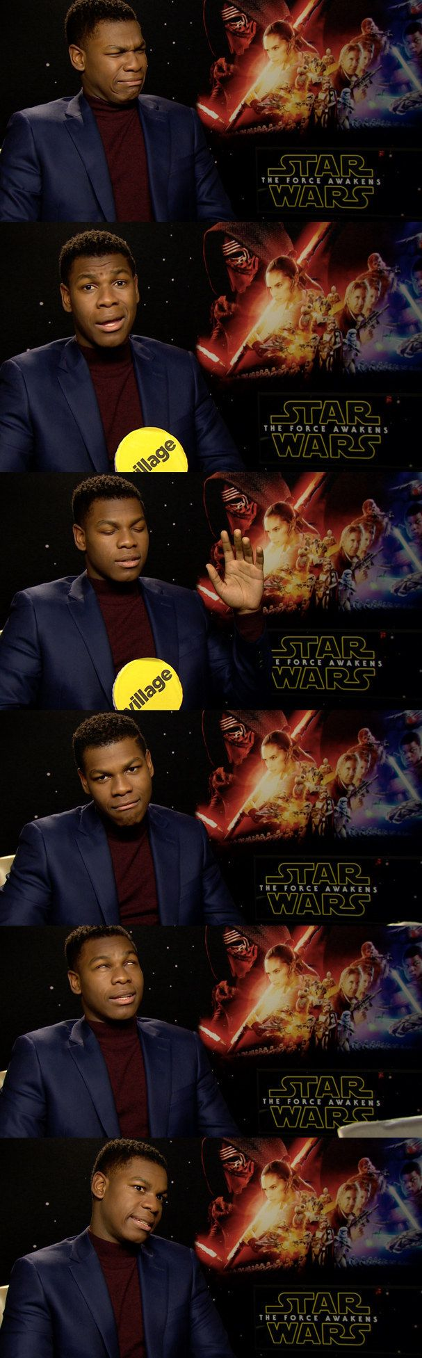 "Every facial expression he did in a recent Star Wars interview with BuzzFeed UK. | 19 Signs That John Boyega Is Enjoying Being In ""Star Wars"" So Damn Much"