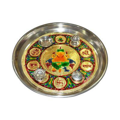 Shubh Labh Shree Ganesh Meenakari Pooja Thali By Anjalika Puja Supplies on Shimply.com