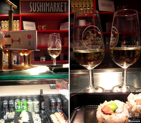 Fino sherry with sushi at Mercado de San Miguel ; )