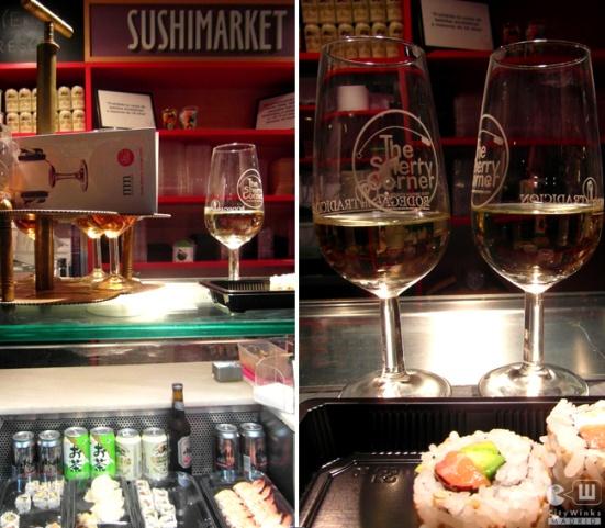 Fino sherry with sushi at Mercado de San Miguel ; )