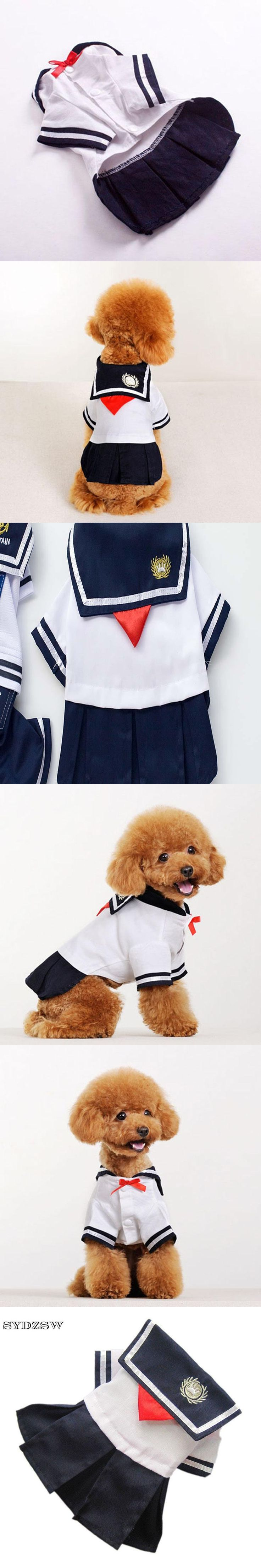 SYDZSW Pet Puppy School Uniform Dog Costume Cute Dog Dress for Chihuahua Terrier Small Dog Pet Cat Clothes in Spring and Summer