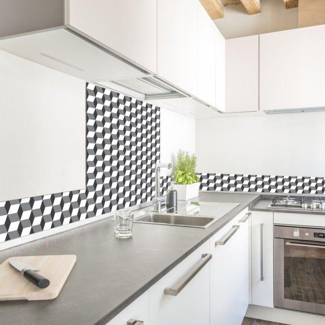 Credence Cuisine Fond De Hotte Adhesive Alu Verre Sur Mesure Cubes 3d 99 Deco