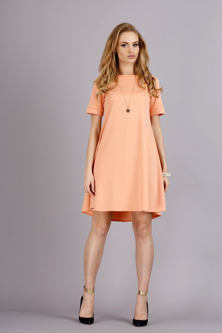 Apricot shirt Dress with Bateau neckline and Short Sleeves