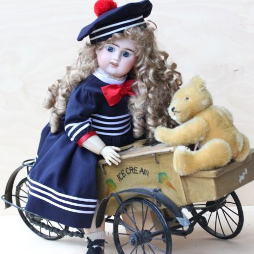 Antique Bicycle Tricycle Ice Cream Cart for Antique Doll & Bear
