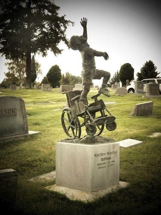 "Wow. I have no words. A father had this tombstone designed and made for his wheelchair-bound son depicting him ""free of his earthly burdens."""
