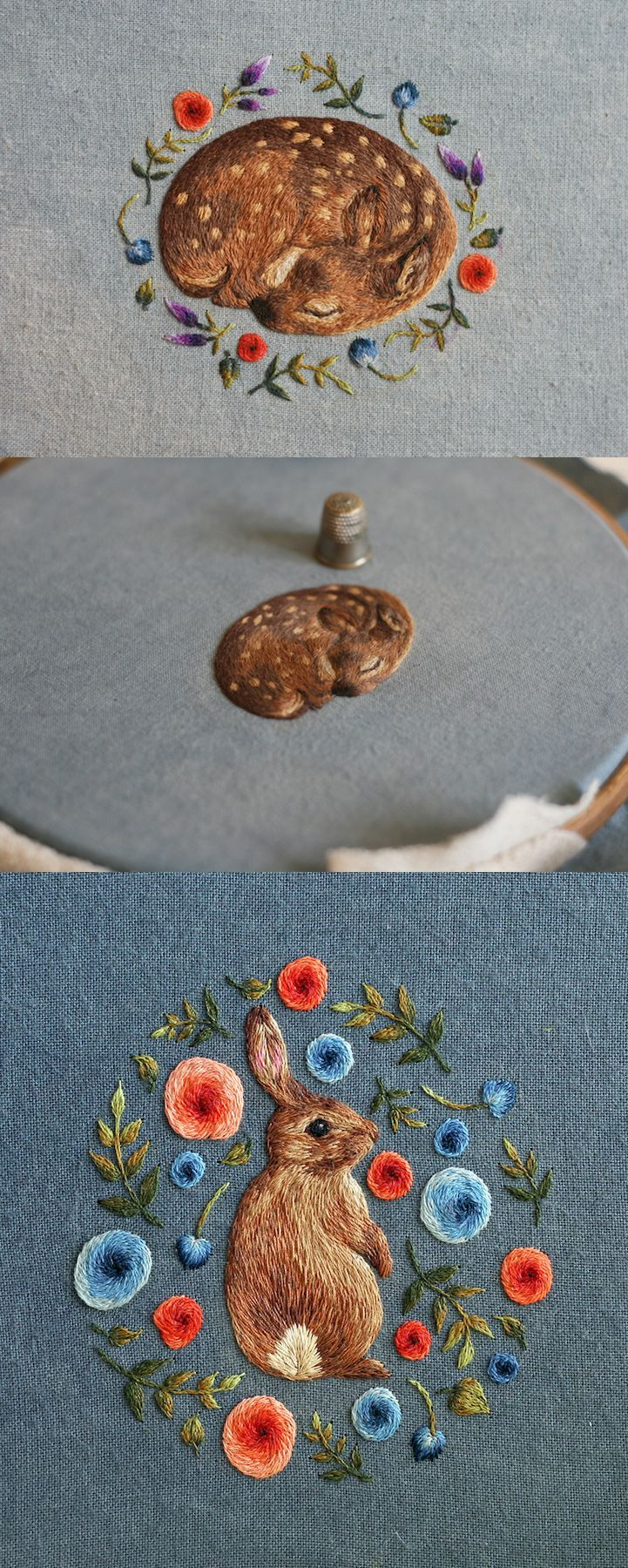 Miniature embroidery by Chloe Giordano | animal embroidery | modern embroidery | realistic embroidery