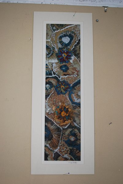 Silk batik panel with quilting and hand and machine embroidery. NICOLA HAIGH For sale.