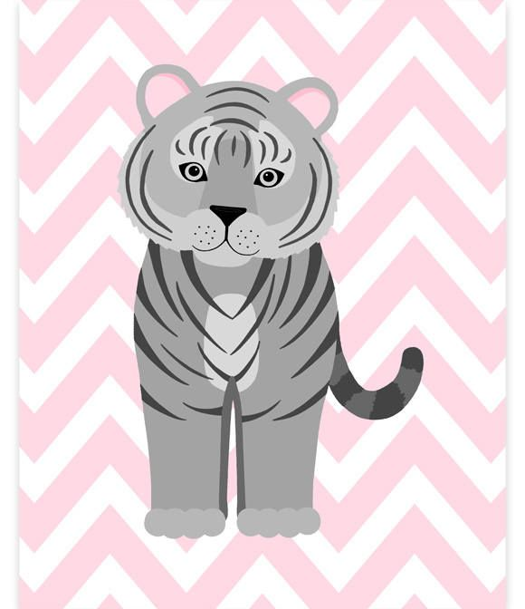 Tiger Nursery Decor, Tiger Wall Art, Zoo Nursery Decor, Grey and Pink, Zoo Wall Art, Baby Zoo Decor, Gender Neutral, Baby Girl, Baby Boy by SweetPeaNurseryArt on Etsy