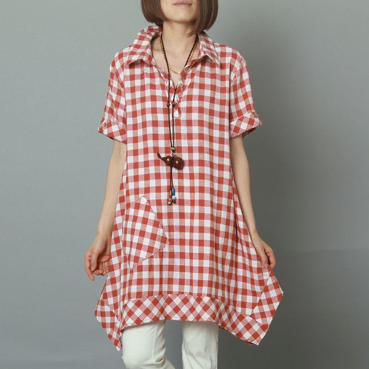 Pink plaid oversize linen sundress Grid summer cotton dress
