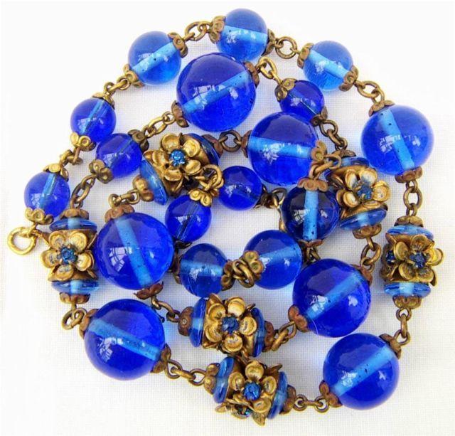 Vintage glass flower beads useful