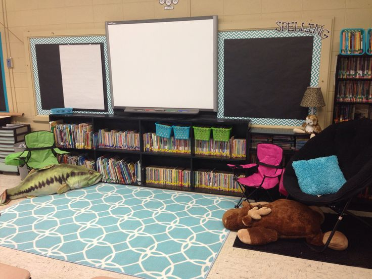 Aqua and teal themed classroom. Carpet is from lowes, chair and blue pillow found at garage sales, moose pillow from SAMs, fish pillow from bass pro. Camp chairs from academy sports.