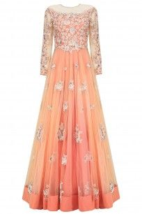 Peach and Silver Floral Patchwork Anarkali Set Available Only At Pernia'S Pop Up Shop.