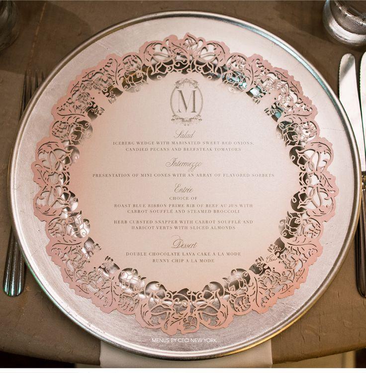 Our Muse - Blush and Pewter Wedding - Be inspired by Kayla and Hudi's blush-and-pewter wedding in Pompano Beach, Florida - wedding, menu, cake topper, wedding dress, sparkles, bride, groom, ceci bride, lasercut, rings, monogram