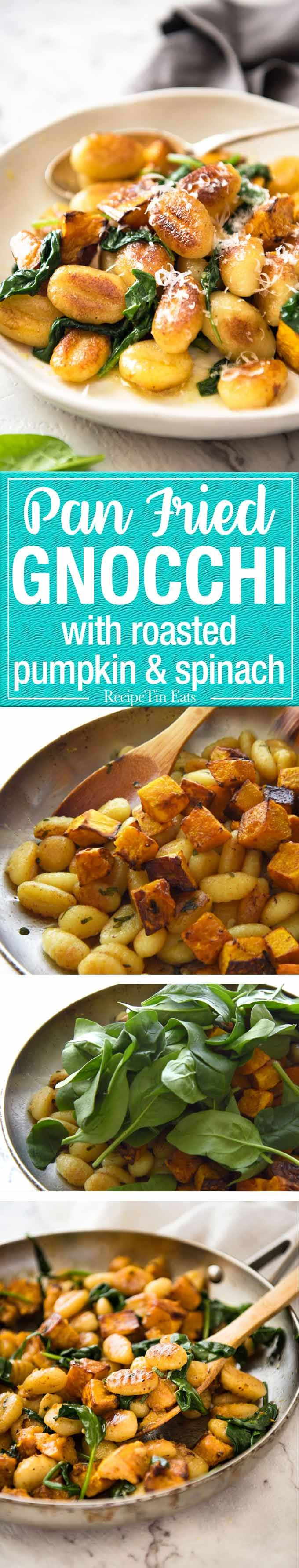 Pan Fried Gnocchi With Pumpkin And Spinach.