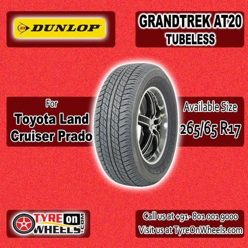 Buy Toyota Prado Tyres Online of Dunlop Grandtrek AT 20 Tubeless Tyres for Size 265/65R 17 and get fitted with Mobile Tyre Fitting Vans at your doorstep at Guaranteed Low Prices buy now at http://www.tyreonwheels.com/tyres/Dunlop/GRANDTREK-AT20/1295