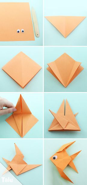 Kostenlose Anleitung - Origami Fisch falten - Talu.de