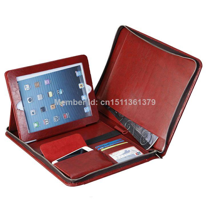 Zippered Genuine Leather Portfolio for Apple iPad Tablet Wine Red $105.99