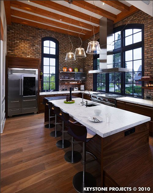 brick brick brick: Dreams Kitchens, Window, Brick Wall, Loft Kitchens, High Ceilings, Dinners Parties, House, Exposed Brick, Expo Brick