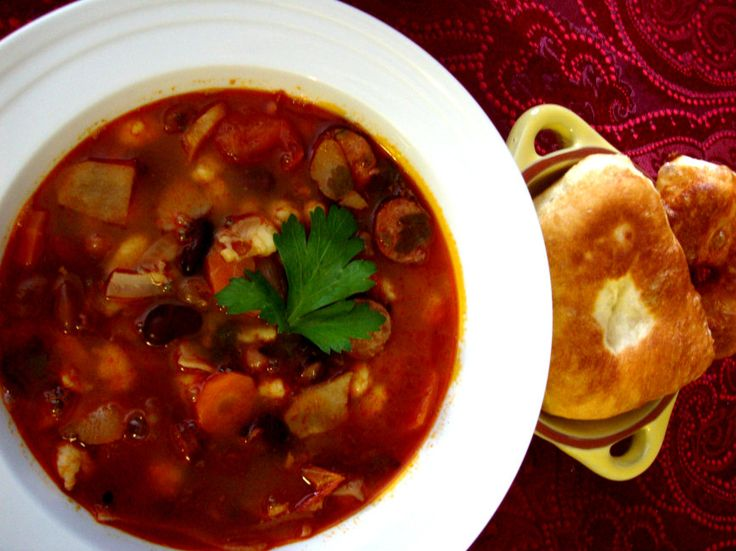 Hungarian Bean #Soup with Sausages by Helen M. Radics - Hungarians just love their soups. Especially on blistery winter days - Website: http://besthungarianrecipes.sharepoint.com