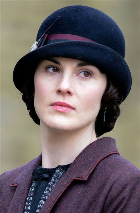Michelle Dockery (Lady Mary Crawley) appears on the set of 'Downton Abbey' season 5 in the town of Bampton in Oxfordshire, England