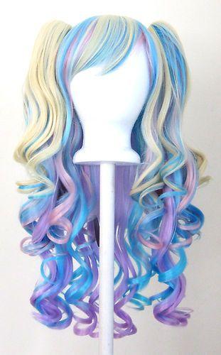 20 Gothic Lolita Wig 2 Pig Tails Set Pastel Rainbow Mix Blend Cosplay New | eBay
