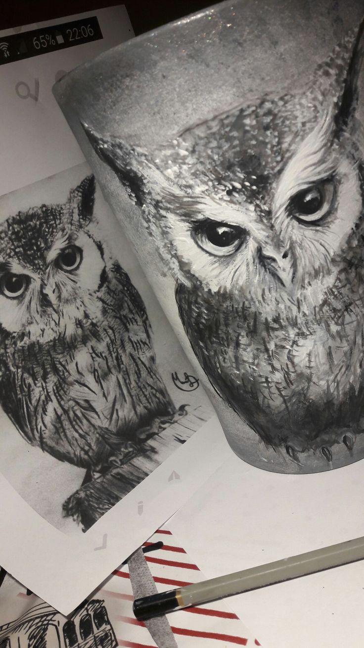 Pot#doniczka#owls#hamdmade
