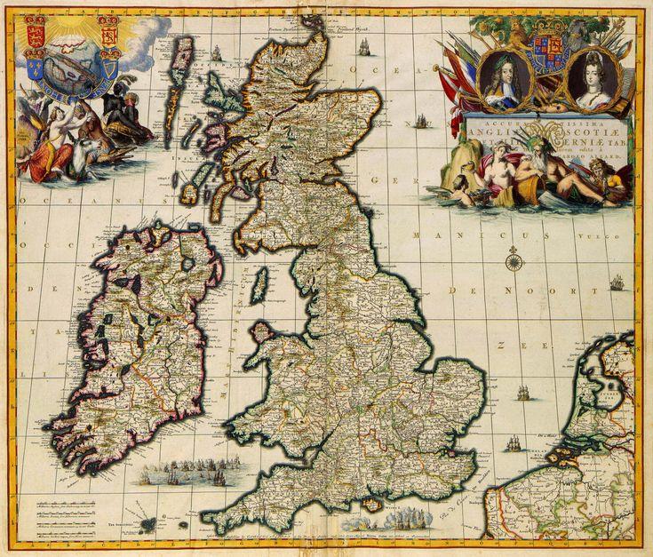 Deze kaart de Britse eilanden van de uitgever Carel Allard (1648-1709) behoort tot de fraaiste van zijn tijd. Opvallend zijn de rijk gedecoreerde cartouches en het dubbelportret van Koning-Stadhouder Willem III en zijn vrouw Mary Stuart tegen de achtergrond van oorlogstaferelen. Ca. 1690.