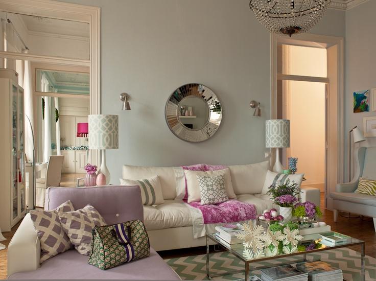 my living room - white sofa, grey walls, geometric pillows, designer's guild fabrics