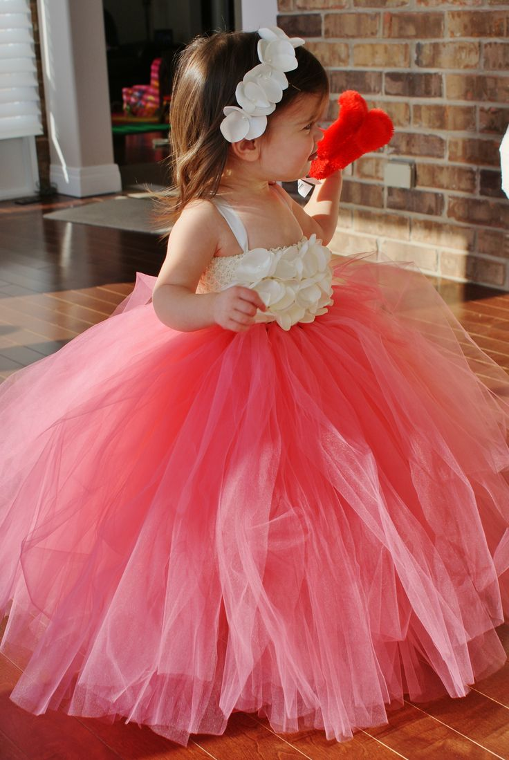 Gorgeous Coral and Ivory Flower Girl or Birthday Dress!