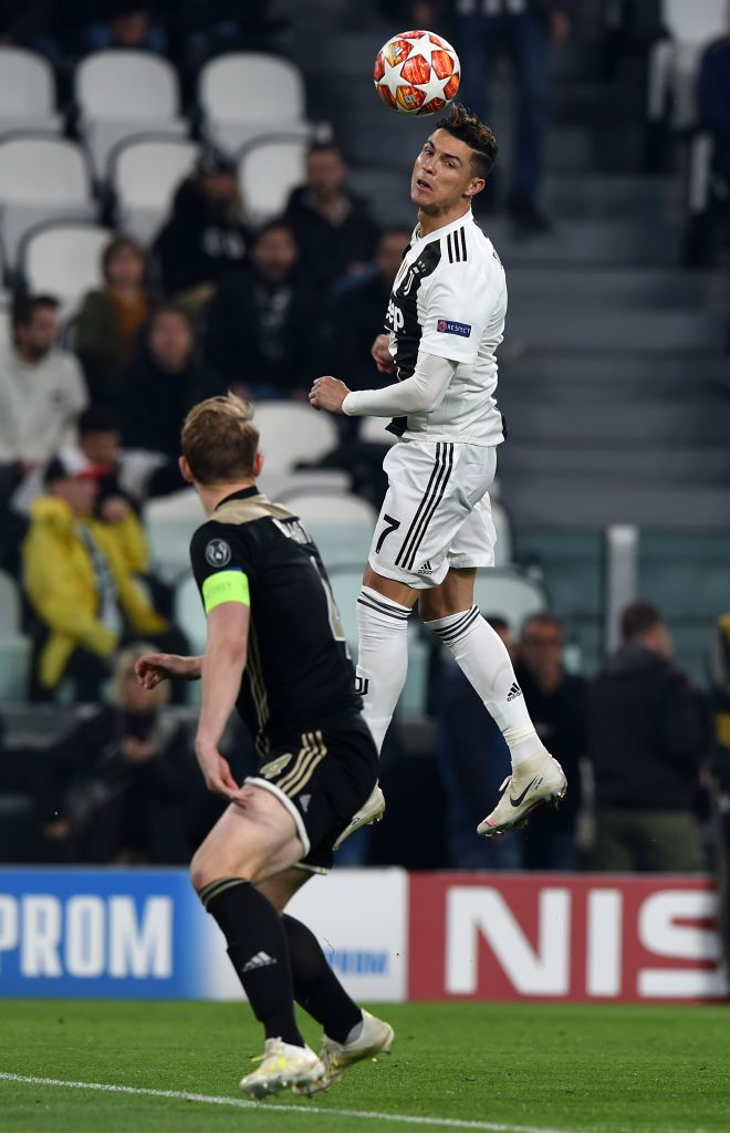 turin italy april 16 cristiano ronaldo of juventus and matthijs de ligt of ajax during the ue ronaldo free kick cristiano ronaldo juventus ronaldo football cristiano ronaldo