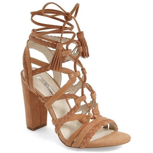 """BCBGeneration 'Ronny' Lace-Up Sandal, 1/4"""" heel (490 HRK) ❤ liked on Polyvore featuring shoes, sandals, heels, coachella, ginger suede, lace up block heel sandals, strappy high heel sandals, lace up flats, high heel shoes and block heel sandals"""