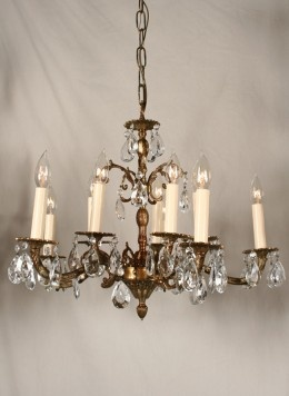 Vintage Crystal Chandelier w/ Spanish Castings in Antique Brass, c. 1950. www.myrlg.com #lighting #vintage
