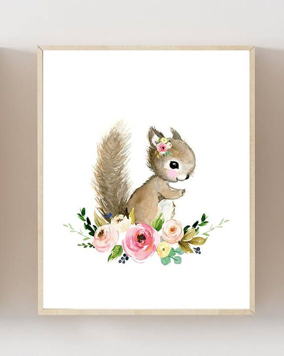 Floral woodland Print Set of 6, flower Nursery Art , Nursery Decor, Kids Wall Art, nursery art,squirrel, fox, deer, raccoo, animal painting