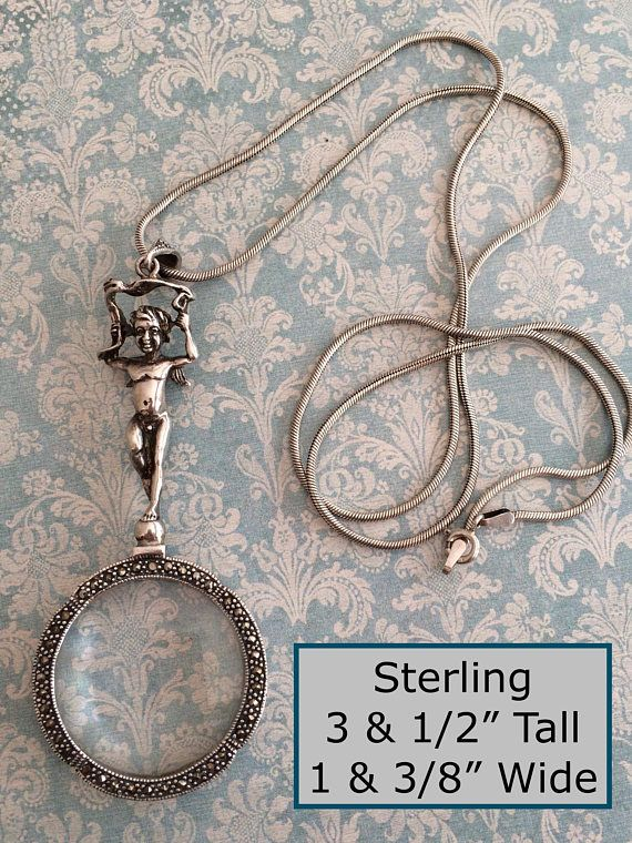 Unique Silver Finish Magnifying Glass Dragonfly Design Key Chain Purse Charm