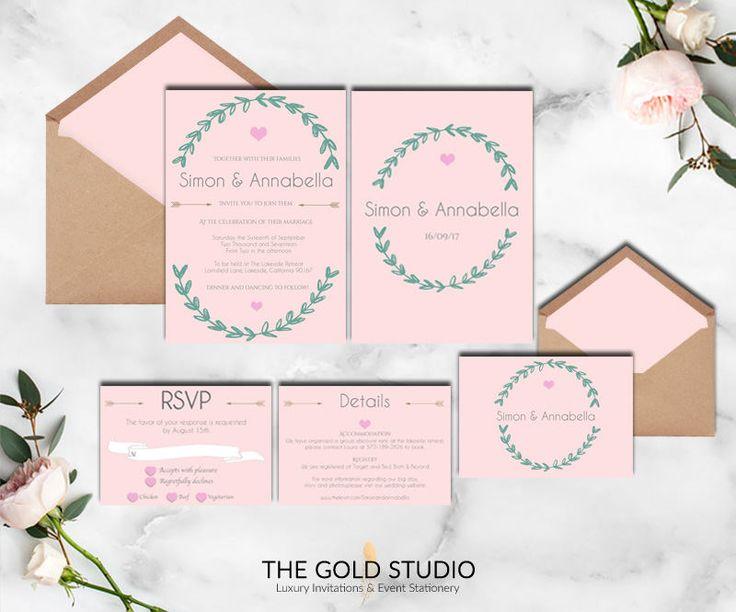 Best 25 pink wedding invitation sets ideas on pinterest blush instant download pink wedding invitation set elegant wedding suite heart modern wreath rsvp details print at stopboris Choice Image