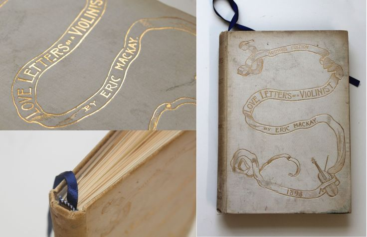 Love letters to a violinist! White and gold vintage wedding guest book