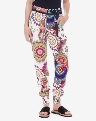 Pantaloni desigual dama cu imprimeu multicolor