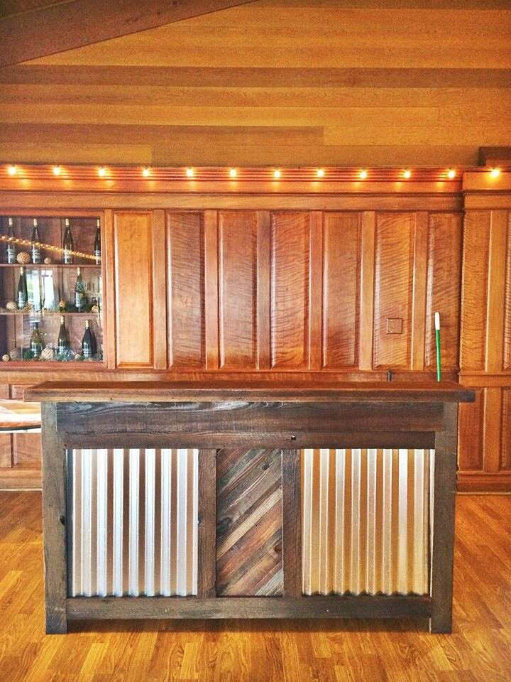 This Rustic Bar Was Created From Reclaimed Redwood And Corrugated Metal.  The Bar Is 60 Long, And Has Two Shelves On The Back Side. We Have A Rustic U2026