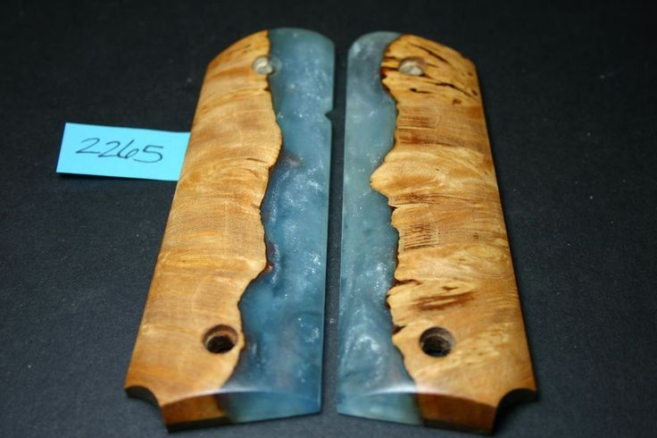 FIT 1911 grips CAST SKYBLUE PEARL BURL COLT 45 Mag resin Full Size GOV kimber RI #206grips