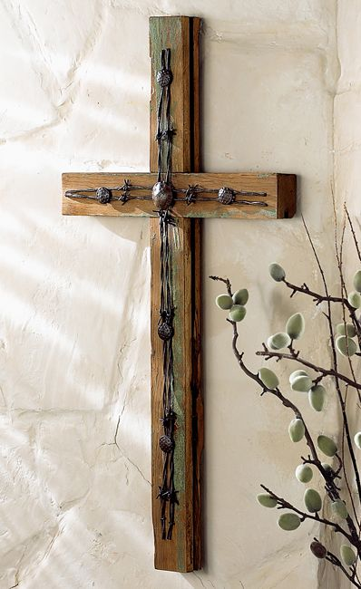 wood cross with barb wire