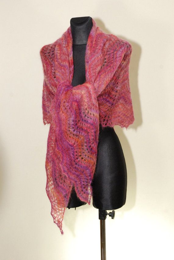 HANDMADE. READY TO SHIP  Luxurious Hand Knit Lace Shawl made of soft yarn - blend of super kid mohair and silk. Its very feminine and romantic.  Shawl is big but very light (weight approx 75g). It is soft, delicate and very warm.  Color: various shades of pink with addition of purple and orange  Yarn - blend of super kid mohair [76%] and silk [24%].  Measurement: 220 cm x 102 cm [86.6 x 40.2].  Hand wash in lukewarm water (30° C). Dry flat and block with pins to give a shape. Because of…