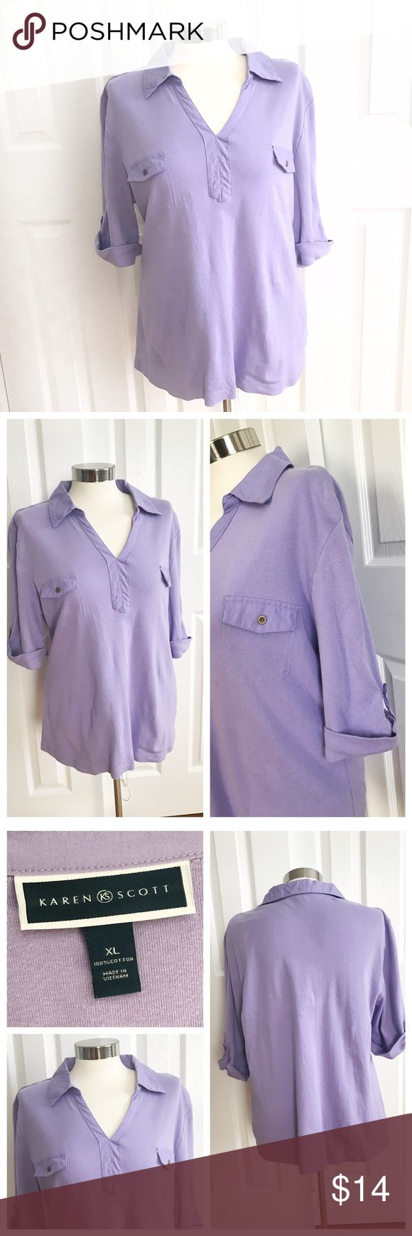 Karen Scott Lavender 3/4 Sleeve Top Lavender purple 3/4 sleeve shirt. Collar, pockets. 100% cotton. Karen Scott brand. Size XL. Karen Scott Tops