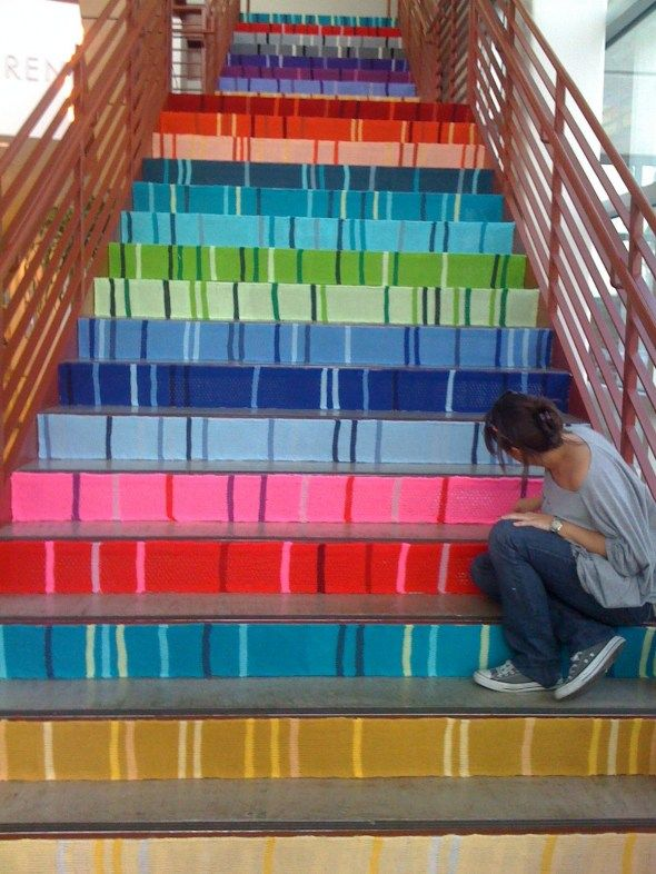 Painted Stairs - Might do this with my basement stairs... someday.